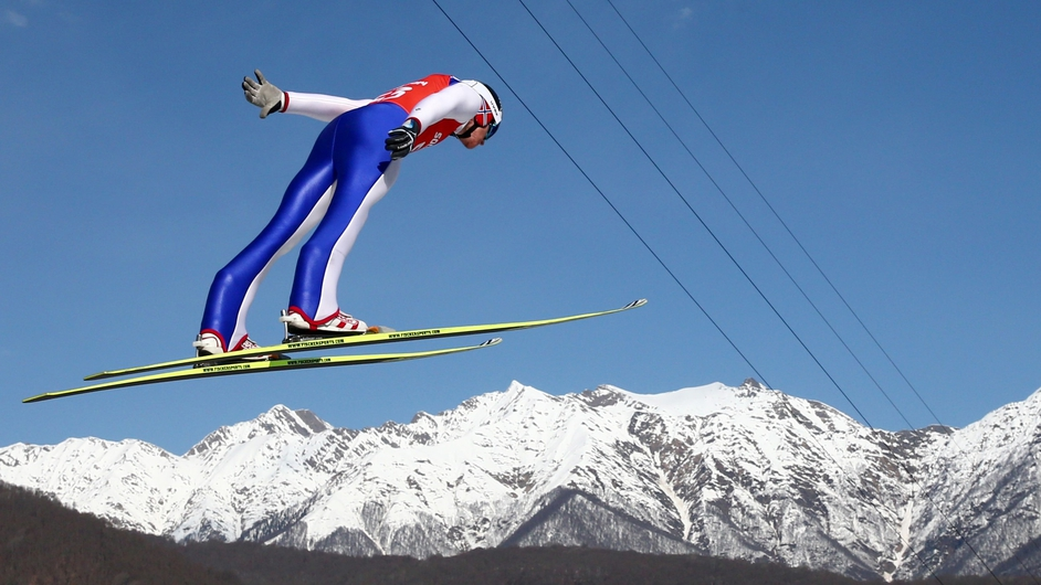 Haavard Klemetsen of Norway in action during the Men's Individual Gundersen Large Hill/10km Nordic Combined training in Sochi