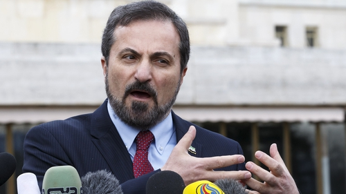 Spokesperson for the Syrian National Coalition Louay Safi speaks to reporters in Geneva (Pic: EPA)