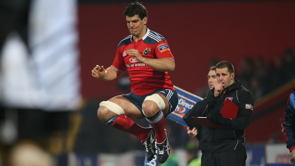 Donncha O'Callaghan made a record 241st appearance for Munster when he came on against Zebre at Musgrave Park