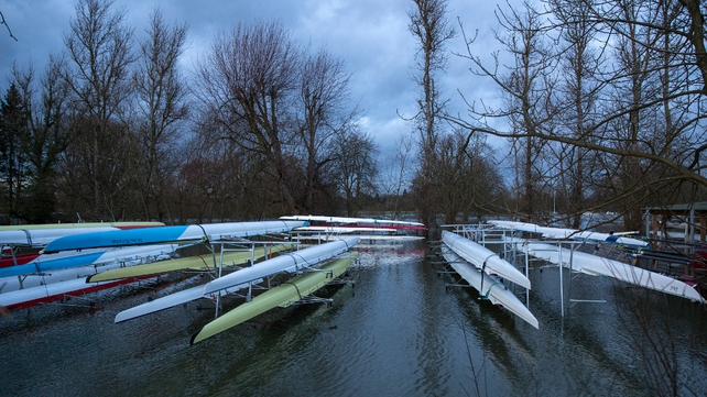 Not jolly fine rowing weather at a boat yard where Thames burst its banks in Marlow