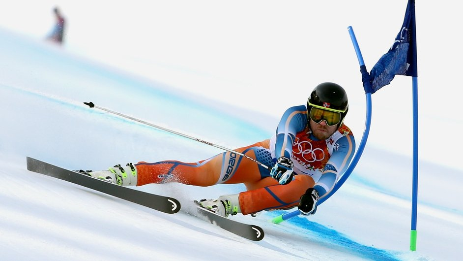 Kjetil Jansrud of Norway on his way to winning Olympic Gold in the Men's Super G in Sochi (Pic: EPA)
