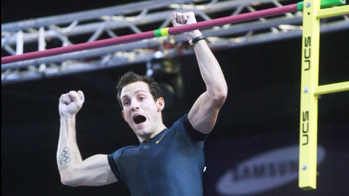 France's Renaud Lavillenie reacts just after breaking the record