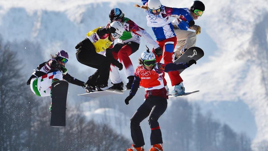 Eva Samkova, Michela Moioli, Alexandra Jekova, Dominique Maltais, Chloe Trespeuch and Faye Gulini compete in the Women's Snowboard Cross Olympic final in Sochi.