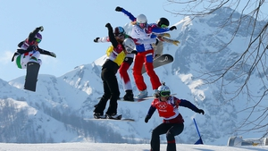 Eva Samkova of the Czech Republic leads the group during the Ladies' Snowboard Cross Final