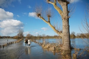 A couple walk through flood waters on Chertsey Meads