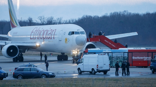 Flight ET-702 which was destined for Rome landed safely in Geneva (Pic: EPA)