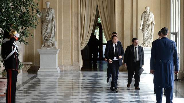 Matteo Renzi (centre) held talks with President Giorgio Napolitano this morning (Pic: EPA)