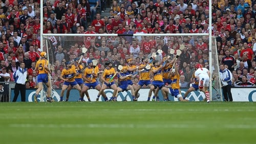 The Clare team fails to stop a Nash shot in the All-Ireland final