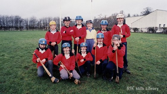 Paulstown Hurling 1994 with Front row (from left to right) Jerry Walsh, Derek McEvoy, Michael and Patrick Walsh (twins), John Kelly, and Brian Healy. Back row (from left to right) Joe Lennon, Paddy Dormer, Cyril Kealy, Vincent Roche, Eddie Gavin, and Jona