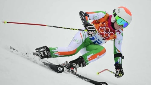 Florence Bell during the Women's Alpine Skiing giant slalom