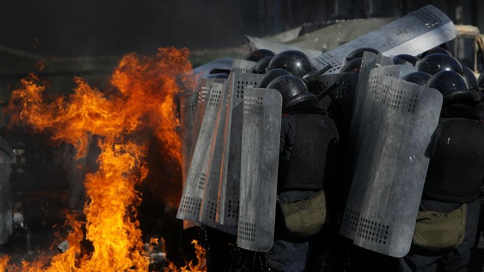 Petrol bombs were thrown (Pic: EPA)