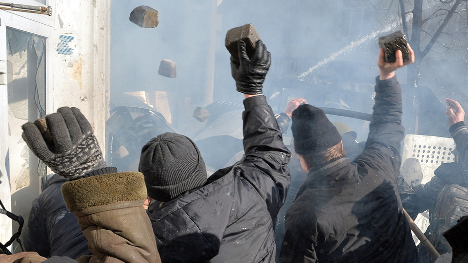 Protesters hurl bricks and stones