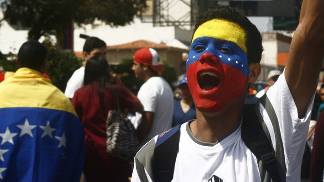 People protest in Maracaibo against the Venezuelan government (Pic: EPA)