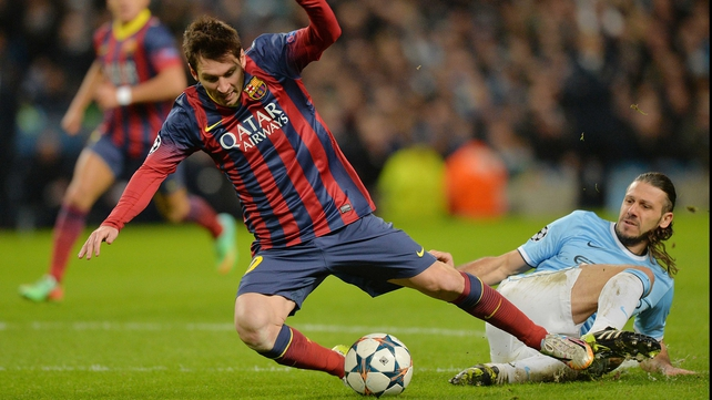 Martin Demichelis fouls Lionel Messi in what proved to be the game's decisive moment