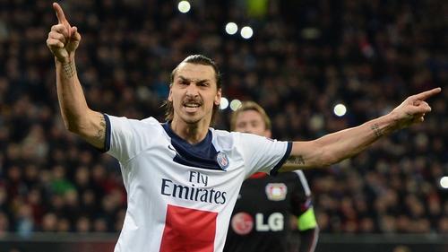 Zlatan Ibrahimovic celebrates his first goal