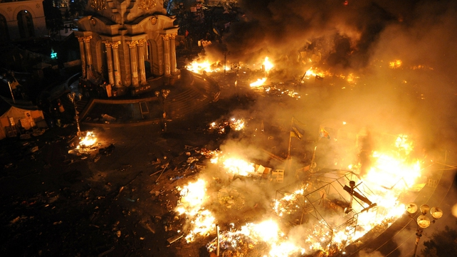 Fires rage in the Independence Square (Pic: EPA)