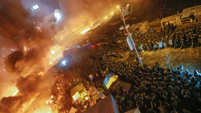 Riot police launch an assault on main protest camp in Kiev (Pic: EPA)