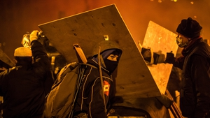 Protesters responded to a police advance with petrol bombs, fireworks and stones