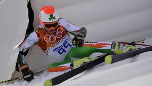 Conor Lyne reacts to a fall in his giant slalom run