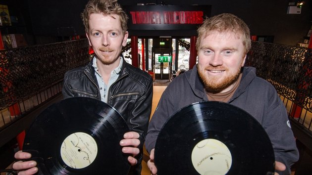 Tower Records (l-r Store Manager Dave Farrell and General Manager Joe Plunkett) - Looking forward to the next 21 years