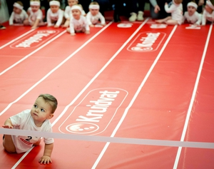 Babies participate in the diaper race at the annual Nine Months Fair in Amsterdam, The Netherlands