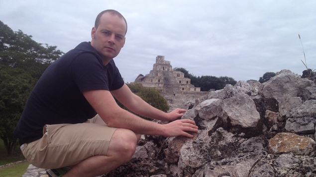 Tadhg Peavoy at the ruins of Edzná