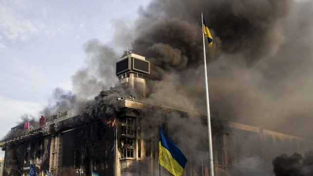 The Trade Union building on Kiev's Independence Square was set on fire last night