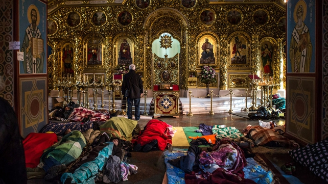 People sleep where they can in the monastery
