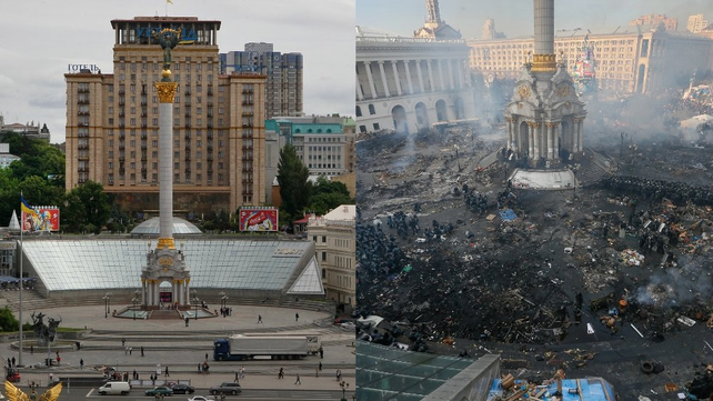 Kiev's Independence Square pictured in 2012 (L) and as it is today (Pics: EPA)