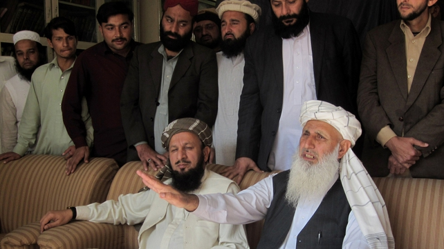 Pakistan Taliban members Professor Ibrahim (R) and Mualana Yousaf Shah (L), part of the committee nominated to take part in peace talks with the Pakistan government