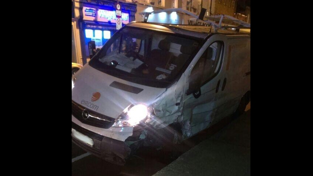The stolen Eircom van was badly damaged after crashing into a number of parked cars in Ranelagh (Pic: @FPallonetto)