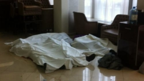 Bodies lined up in the lobby of Kiev's Hotel Ukraine
