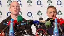 Joe Schmidt and Paul O'Connell answer media questions at the announcement of the Irish team to play England
