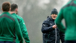 Joe Schmidt barks instructions to his team on the training pitch at Carton House on Thursday