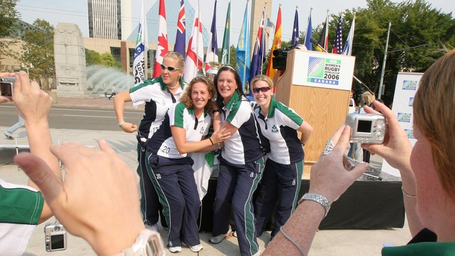 Joy Neville, Jean Lonergan, Rosie Foley and Amanda Greensmith at the Women's RWC in 2006 in Canada