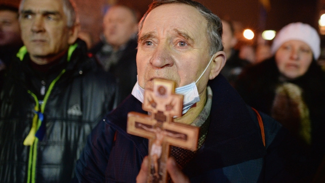Prayers are said for the victims of today's violence in Kiev