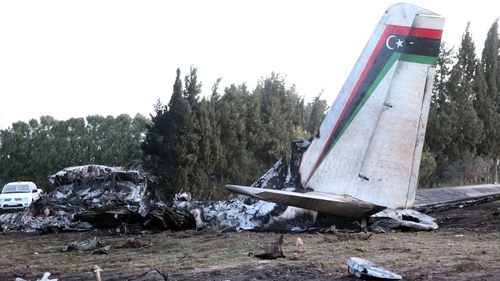 A Libyan army medical plane has crashed in Tunisia killing all 11 people on board (Pic: EPA)