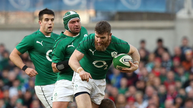 Gordon D'Arcy carries into contact - footwork and fight on the ground are among the key 'details' that Ireland have focussed on so far