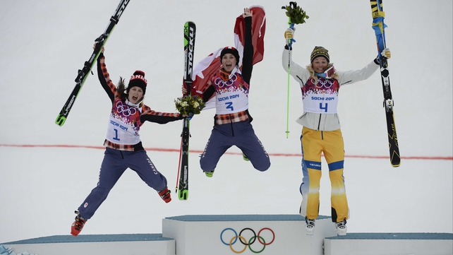 (LtoR) Kelsey Serwa, Marielle Thompsonand Anna Holmlund celebrate on the podium