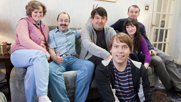 Graham Linehan (centre) with the Walshes