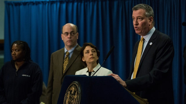 Mayor de Blasio launching his traffic safety plan at a press conference on Wednesday