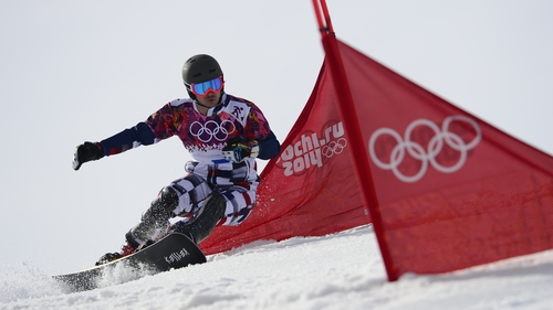 Russia's Vic Wild competes in the Men's Snowboard Parallel Slalom Final