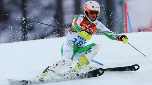 Ireland's Conor Lyne in action during the Men's Slalom during day 15 of the Sochi 2014 Winter Olympics at Rosa Khutor Alpine Centre in Sochi, Russia