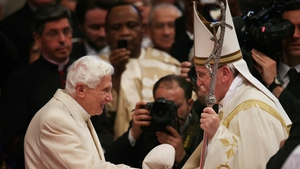 Former pope Benedict XVI, who retired last year, made a rare public appearance at a ceremony led by his successor Pope Francis to appoint new cardinals
