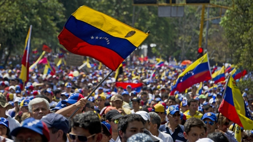People attend a march against the government of Venezuelan President Nicolas Maduro in San Cristobal, capital of the western border state of Tachira, Venezuela,