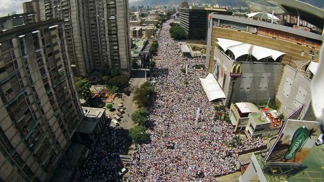 Thousands of people attend a protest against the government of Venezuelan President Nicolas Maduro in Caracas