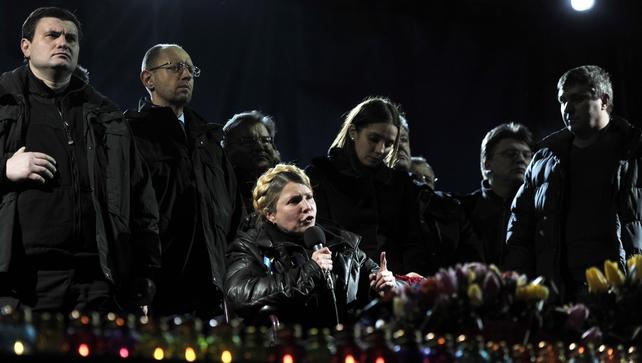 Newly freed Ukrainian opposition icon Yulia Tymoshenko delivers speech on Kiev's Independance square last night