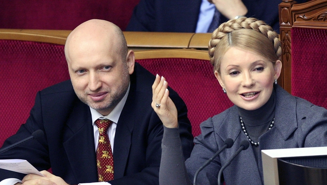 Oleksander Turchinov (L) has been appointed as interim president
