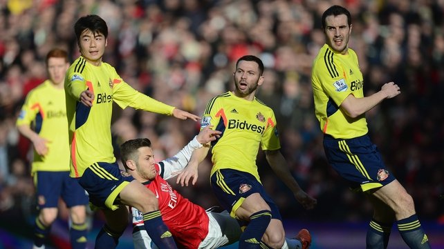John O'Shea (right) said Sunderland had underperformed against Arsenal