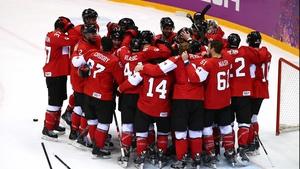 Canada celebrate their gold medal triumph